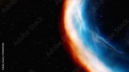 Fotografiet red-blue nebula in space
