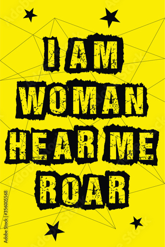 Protest poster I AM WOMAN HEAR ME ROAR Canvas Print