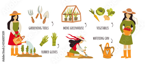Fototapeta Gardening tools, horticultural activities, gardening ideas flat icons set. Creative vector illustrations with girls in the garden. Simple colorful flat design concept for web banners, infographics. obraz