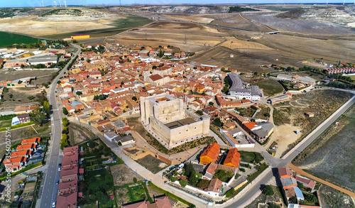Castle in Palencia. Aerial view in Fuentes de Valdepero. Spain. Drone Photo