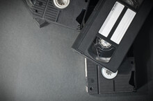 A Stack Of Black Vhs Video Cas...