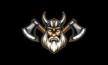Viking Head And Axe Vector