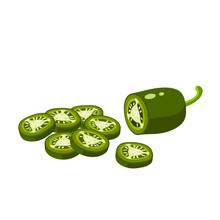 Hamburger Ingredient. Sliced Jalapeno Pepper. Vector Illustration Cartoon Flat Icon Isolated On White.