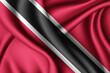Leinwanddruck Bild - waving silk flag of Trinidad and Tobago