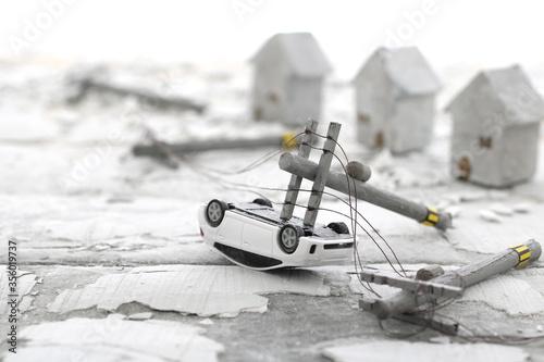 災害で壊れた街並みのジオラマ風景 Canvas Print
