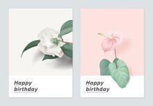 Minimalist Botanical Birthday Card Template Design, Semi-double Camellia And Anthurium Flower