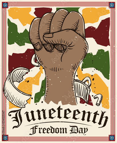 Canvas Print Fist Up Drawing and Frame Celebrate Juneteenth or Freedom Day, Vector Illustrati