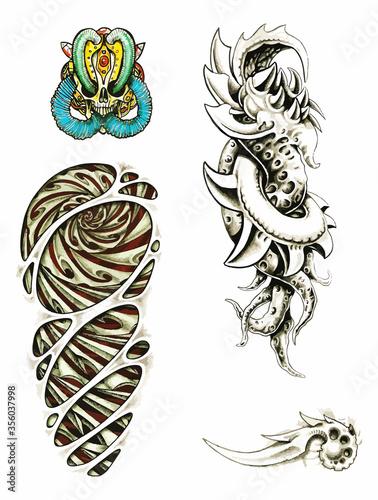 Obraz na plátně Biomechanical tattoo set