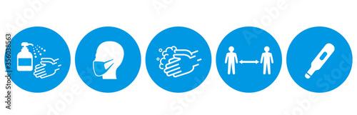 Fotografía washing hands mask gargling illustration vector