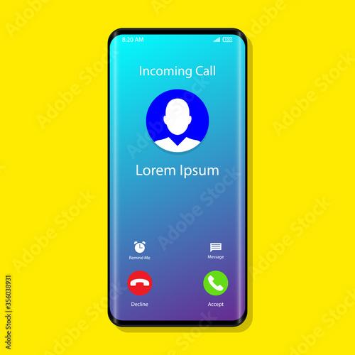 Incoming Call Interface Phone Call Vector Tapéta, Fotótapéta