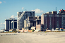 Beach In Atlantic City, New Jersey. Atlantic City Is A Resort City In The Northeast Known For Its Casinos, Boardwalk And Beach.