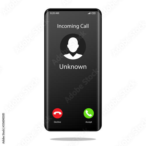 Fototapeta Unknown number calling Mobile Phone Interface Illustration Vector