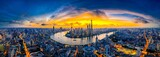 Panoramic high angle shot of the beautiful city of Shanghai captured at sunset