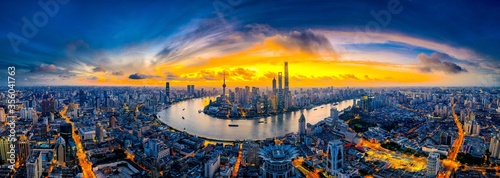 Panoramic high angle shot of the beautiful city of Shanghai captured at sunset - 356041763