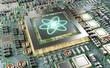 Leinwandbild Motiv Close-up view on a nanotechnology electronic system 3D rendering