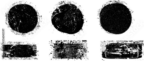 Fototapeta Grunge post Stamps Collection, Circles. Banners, Insignias , Logos, Icons, Labels and Badges Set . vector distress textures.blank shapes. obraz