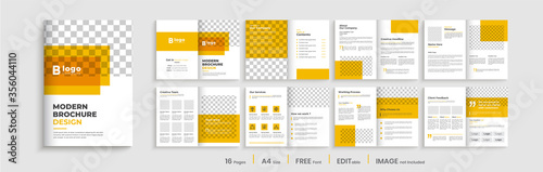 Fototapeta Brochure templat design with orange color shapes, business profile template design,16 pages, annual report,minimal, editable businss brochure. obraz