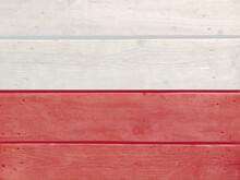 Poland Flag Painted On Wood Pl...