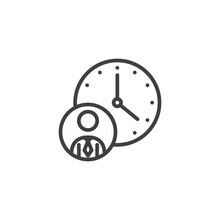 Work Time Line Icon. Linear St...