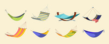 Hanging Hammock Set. Hanging Modern Hammocks Bright Fashionable Drawing Tropical Green Yellow Colors Striped Red Orange Deep Dark Blue Towel Beach Tourism. Relaxing Clipart Vector.