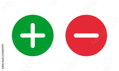 Fotomural green plus and red minus symbols, round solid vector signs