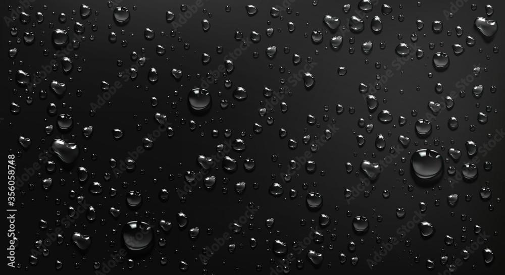 Fototapeta Condensation water drops on black glass background. Rain droplets with light reflection on dark window surface, abstract wet texture, scattered pure aqua blobs pattern Realistic 3d vector illustration