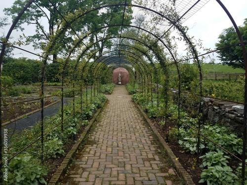 red brick path and metal lattice in garden