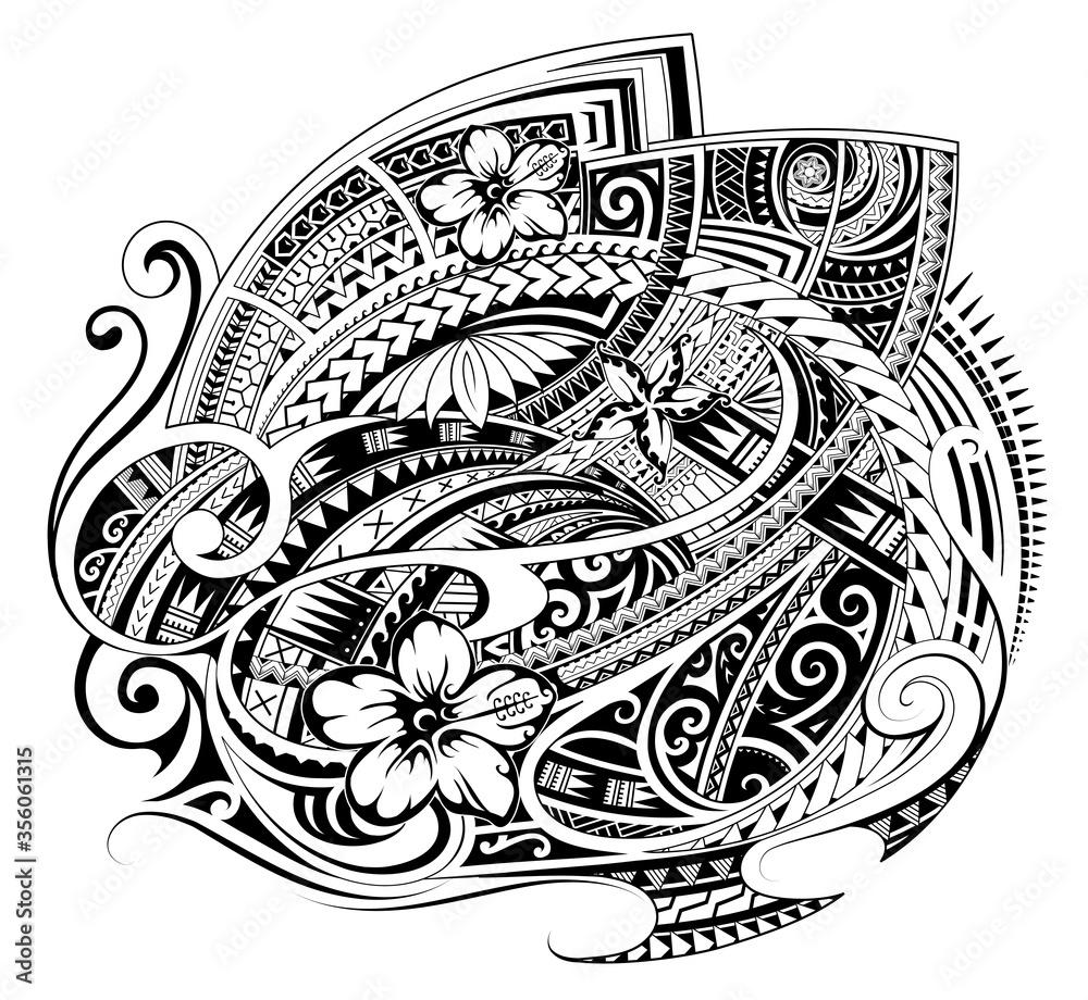 Fototapeta Polynesian style ornament as a print design or fabric