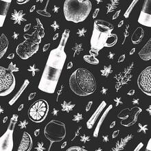 Hand Drawn Mushroom Seamless Pattern. Vector Illustrations On Chalk Board. Vintage Background