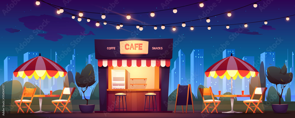 Fototapeta Street cafe with coffee and snacks at night. Vector cartoon cityscape with outdoor cafeteria with umbrellas, tables and chairs on sidewalk. Fast food shop in summer town park