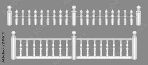 Fotomural Marble balustrade, white balcony railing or handrails