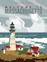 Massachusetts Is On A Tourist Poster. Vintage Lighthouse. The East State Of The US. Boston Area. Printable Card For Tourists In Vintage And Retro Style