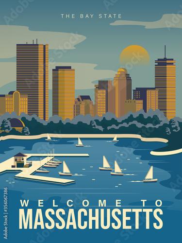 Fotografia, Obraz Massachusetts is on a tourist poster