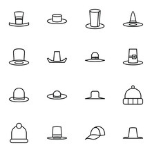 Hat, Homburg And Panama Hat Icon Set. Simple Cap, Bowler And Trilby Outline Icon Sign Concept. Vector Illustration.