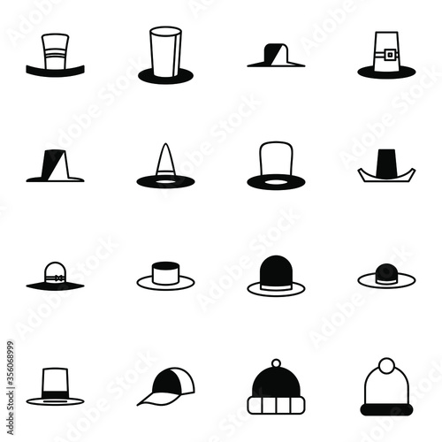 Hat, homburg and panama hat icon set Wallpaper Mural
