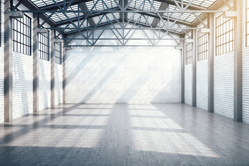 New industrial warehouse interior with window