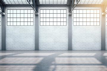 Fototapeta Struktura ściany Modern warehouse interior with window and blank brick wall.