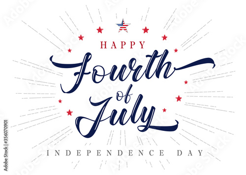 Fourth of July USA lettering inscription vintage poster. 4th of July United States of America, Independence Day typography vector Illustration - 356070901