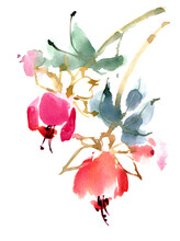 Abstract Flower Watercolor Ill...