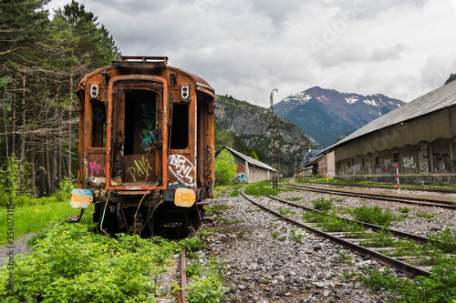 Abandoned railway station Canfranc between France and Spain. Huesca