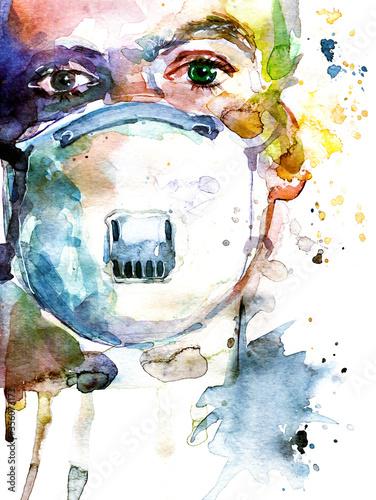 Dottore con la maschera antivirus Canvas Print