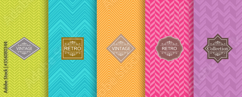 Fototapeta Set of Cute bright seamless patterns. Abstract seamless geometric pattern on vibrant background. Vector illustration bright design.  obraz