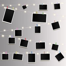 Empty Photos On Garland With Clothespins On Wall Vector Illustration