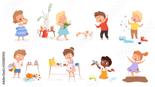 Kids destroy. Little delinquent messy children hyperactivity energy games vector different troubles situation. Children destroy and smash, trouble situation carelessly illustration