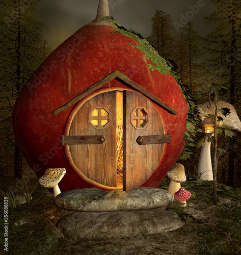 Fotomural Fantasy nut house with open door in the middle of the forest
