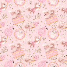 Cute Dogs Love Sweets. Pink Girly Seamless Pattern.