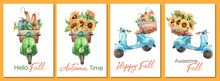 Set Of Watercolor Greetings Cards With Vintage Motorbikes, Harvest And Sunflowers