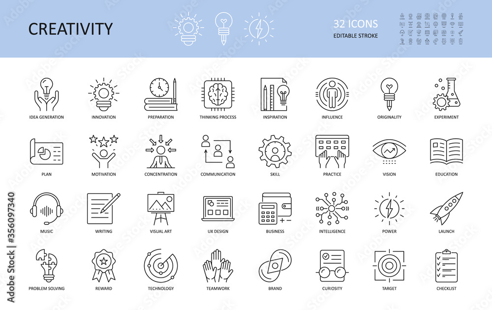 Fototapeta Set of vector creativity icons. Editable Stroke. Idea generation preparation inspiration influence originality, concentration challenge launch. UX design, technology teamwork motivation reward.