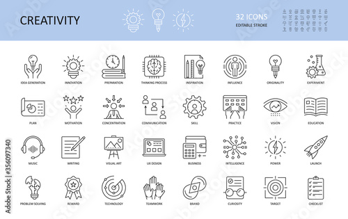 Obraz na plátne Set of vector creativity icons