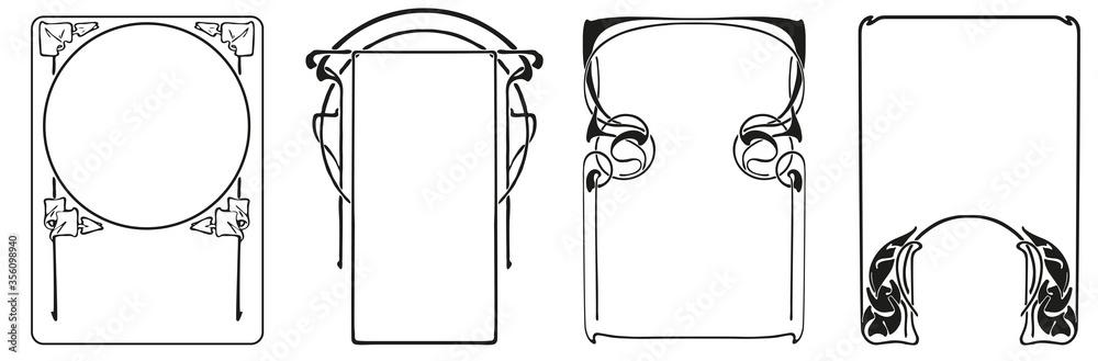 Fototapeta Frames with style Art Nouveau ornament vector set.